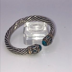 Sterling silver and topaz cuff